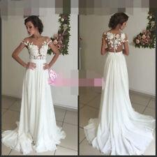 Chiffon A-line Lace Cap Sleeve Wedding Dresses