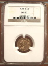 1915 Gold $2.5 Indian Head Quarter Eagle Coin $2 1/2 ~ NGC MS62 ~