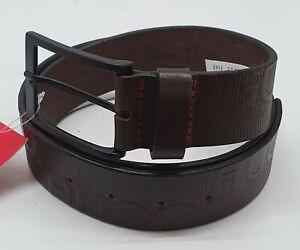 Hugo Boss Men's Genuine Metal Buckle Leather Belt HUGO on Strap - Brown- NEW