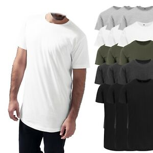 3er Pack - Build Your Brand Shaped Long Tee Herren Rundhals T-Shirt - extra lang