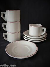 Stackable Restaurant Ware SET OF 4 CUPS & SAUCERS White with Red Pinstripe