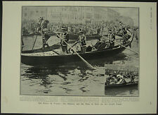 Kaiser Augustus William King Of Italy Gondola Venice 1908 1 Page Photo Article