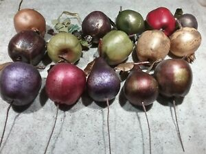 LOT OF 15 ASSORTED LIFESIZE ARTIFICIAL FRUIT - PEARS, APPLES, POMEGRANATE
