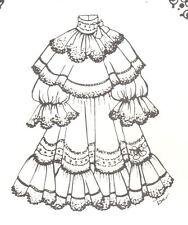"17-18"" Doll Dress Pattern Victorian German French Antique vintage look 660 Bjd"