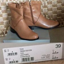 BNIB KG CARVELA Tick Tan Leather SLOUCH Ankle Boots Sz 6 EU 39 FLATS