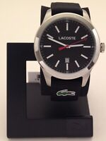 LACOSTE MEN'S AUCKLAND STAINLESS STEEL WATCH WITH BLACK CANVAS BAND 2010778