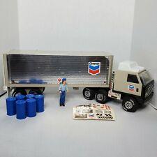 Vintage 1978 Tonka Chevron Delivery Semi Truck w/ Oil Barrels, Decals and Driver