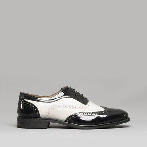 Mister Carlo BAGGIO II Mens Formal Office Semi Brogue Patent Shoes Black/White