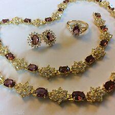 SE83 Diamante y Amatista Sim Conjunto de oro Collar Pulsera Aretes Anillo en Caja GF