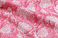 Indian Pink Floral Hand Block Print Fabric Dressmaking Sewing Cotton by the Yard