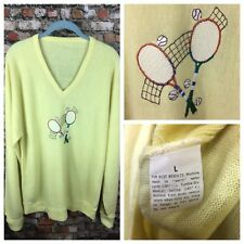 Vintage 50s 60s Tennis Yellow V Neck Varsity Letterman Cardigan Sweater Mens L @