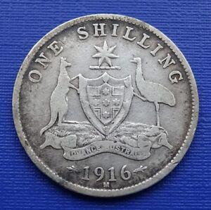 Australia Silver One Shilling Coin, 1916 (M) George V~.925 Silver~KM#26~F~#1063