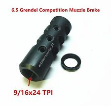 All Steel,9/16x24 Threaded Competition Muzzle Brake for 6.5 Grendel,Free Washer