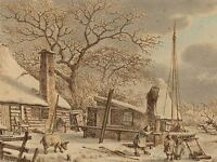 JACOB CATS DUTCH FARMYARD WINTER OLD ART PAINTING POSTER PRINT BB5731A
