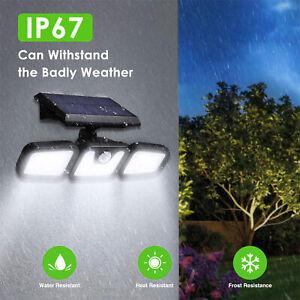 Solar Powered PIR Motion Sensor LED Floodlight Outdoor Garden Security Light
