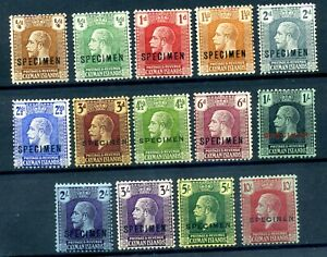 Cayman Islands 1921 Script set overprined SPECIMEN fine MLH original gum