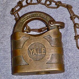 Antique Brass Yale & Towne Lock Padlock 1920's - 1930's W/Brass Chain, No Key