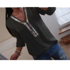 Women Ladies Sequin V-Neck Tunic Top Loose Blouse Long Sleeve Shirt T-Shirt US