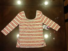 Roxy Juniors Starlily Casual Top Shirt White/Red T Shirt Size S 100% Cotton Cute