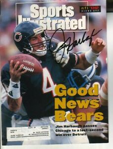 Jim Harbaugh Autographed Sports Illustrated Cover Former Chicago Bears QB/ Mich
