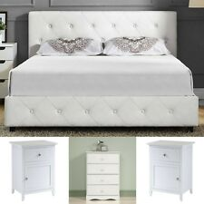 Queen Size Bedroom Set White Leather Platform Bed 2 Nightstands 4 Drawer Chest