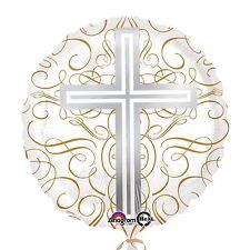 "17"" Elegant Cross Foil Balloon Christening Holy Communion Comfirmation Party"