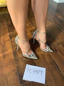 Jimmy Choo MUTYA 100 Snakeskin/Gold Heels Pumps 38 US 7.5 8 Receipt