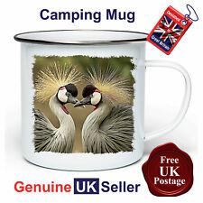 Crane Bird Camping Mug, Hiking Mug, Crane Bird Mug, Outdoor Mug, Tin Mug,