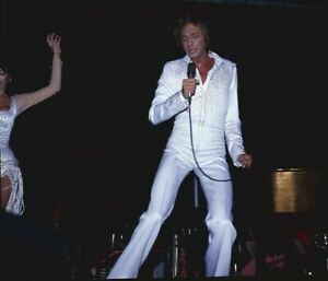 Barry Manilow in white costume Vintage Concert photo original 2 1/4 Transparency