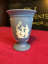 Wedgwood Pale Blue Jasper Ware Trumpet Vase 13 Cm Dated 1976