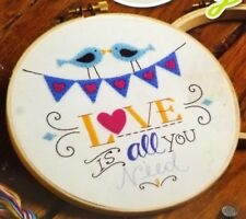 Stamped Embroidery Kit Love Is All You Need Birds Bucilla New WM47643E