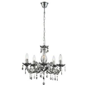 Chandelier Silver Ø46cm 5 Light Cuimbra Living Room Light Crown Hanging Lamp