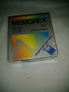 MEMOREX 2S/2D DOUBLE SIDED MICRODISKS 3.5 INCH BLUE PACK 10 135 TPI MB FLOPPY. D
