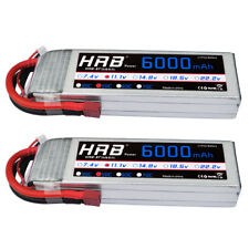 2pcs HRB 3S 6000mAh 11.1V LiPo Battery 50C Deans T Plug for RC Helicopter Car