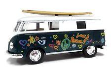 Kinsmart Volkswagen Classical Bus 1962 Surfboard 1:32 Diecast Model Bus Green