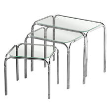 QUALITY NEST OF 3 CLEAR GLASS TABLES SETS CHROME LEGS HOME OFFICE STUDY LIVING