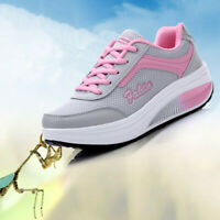 Women Platform Shoes Lace UP Shape Ups Walking Sport Casual Training Sneakers
