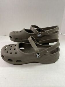 CROCS Brown Mary Jane Slingback Size 7
