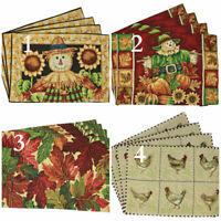 Fall Autumn Harvest Thanksgiving Woven Pumpkin Tapestry Placemats Set Of 4