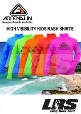 NEW Adrenalin Kids Long Sleeve High Visibility Lycra Rash Vest shirts RashVest