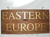 VINTAGE WOODEN EASTERN EUROPE COUNTRY REGION SIGN / DISPLAY BAR / RESTAURANT