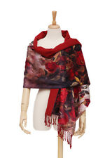 Luxury Extra Heavy Silk Shawl/Wrap Red Color Floral Print GS206