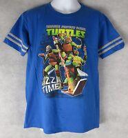 Teenage Mutant Ninja Turtles TMNT Boys Pizza Time T-Shirt New Blue Licensed