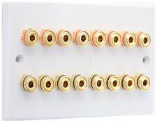 Blanco 8.0 Placa de pared de altavoces Av Audio Oro 16 puestos de unión Sin soldadura