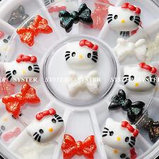 12 Pcs 3D Hello Kitty Fimo Slice & Bow Tie DIY Nail Art Decoration+Wheel #SB-017