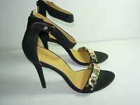 WOMENS BLACK GOLD CHAIN ANKLE STRAP STILETTO SANDALS HIGH HEELS SHOES SIZE 6 M