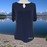 Susan Graver Womens Top M Rolled Tab Short Sleeve Pullover Keyhole Stretch Navy