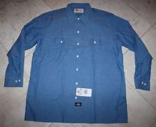 NWT Men's DICKIES LS Button-Front Pockets Workwear Shirt Blue: 17-17.5 (34/35)