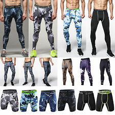 Mens Sports Skinny Camo Trousers Thermal Compression Tight Base Layers Pants Gym
