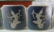 Vintage/ Antique Siam Silver Black Nielloware Hinged Panel Link Goddess Bracelet